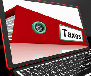 Taxes File On Laptop Shows Online Payment