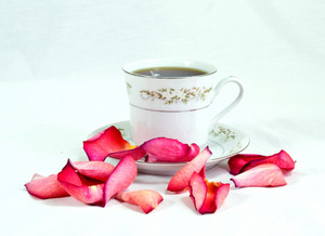 Tea Cup With Rose Petals