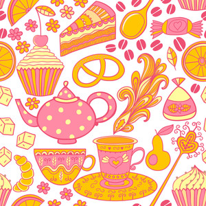 Tea Vector Seamless Doodle Teatime Backdrop.cakes To Celebrate Any Event Or Occasion