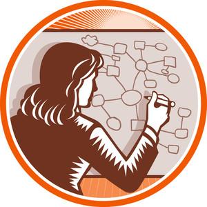 Teacher Businesswoman Writing Mind Mapping Complex Diagram