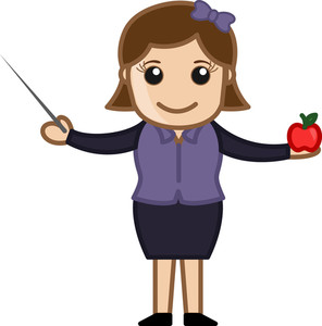 Teacher With Stick And Apple - Cartoon Character