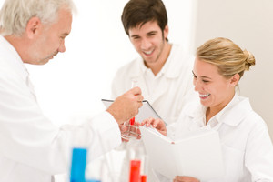 Team of scientists in laboratory - medical research,flu virus vaccination