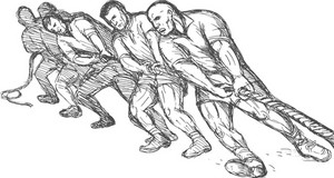 Team Or Group Of Men Pulling Rope Tug Of War