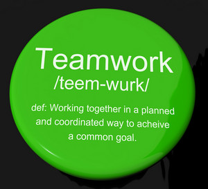 Teamwork Definition Button Showing Combined Effort And Cooperation