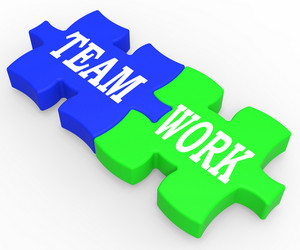 Teamwork Shows Combined Effort And Cooperation