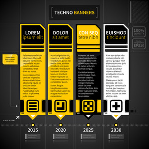 Techno Timeline With 4 Banners.