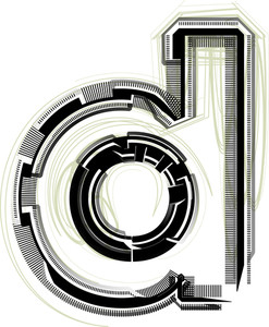 Technological Font. Letter D
