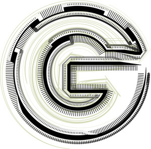 Technological Font. Letter G