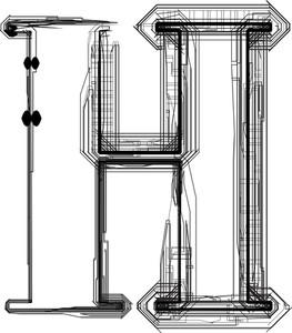 Technological Font. Letter H