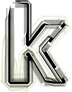 Technological Font. Letter K