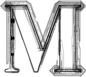 Technological Font. Letter M