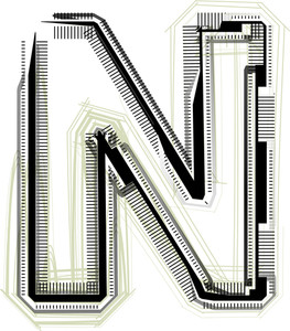 Technological Font. Letter N