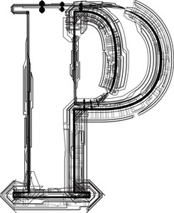 Technological Font. Letter P