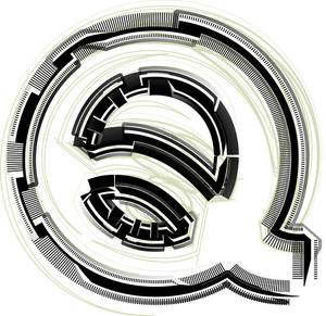 Technological Font. Letter Q