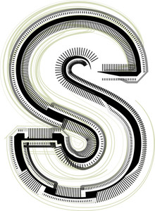 Technological Font. Letter S