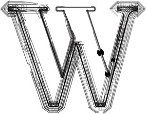 Technological Font. Letter W