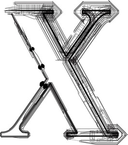 Technological Font. Letter X