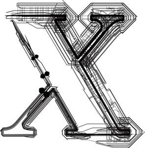 Technological Font. Letter X