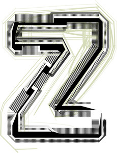 Technological Font. Letter Z