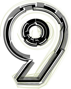 Technological Font. Number 9