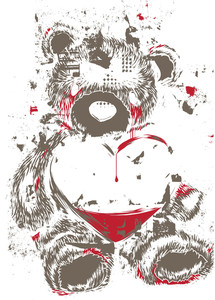Teddy Bear With Grunge Vector T-shirt Design