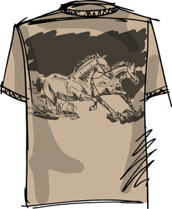 Tee Sketch Of Horse. Vector Illustration