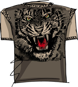 Tee Sketch Of Tiger. Vector Illustration