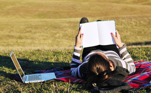 Teen girl study outdoor