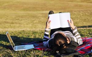Teen girl study outdoor