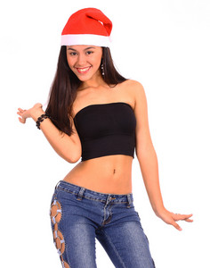 Teenage Attractive Girl Happy With Her Christmas