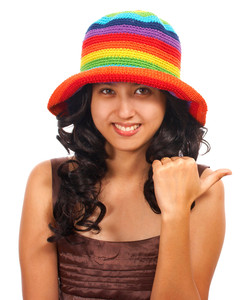 Teenager In A Hat Smiling And Hitching