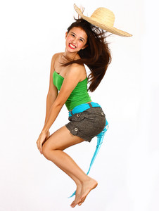 Teenager Jumping And Smiling With Joy