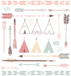 Teepee Zelte und Pfeile Collection - Hipster Stil