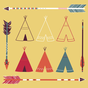 Teepee Tents And Arrows - Hipster Style