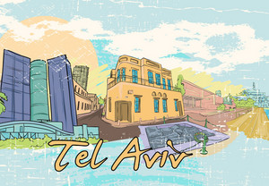 Tel Aviv Doodles Vector Illustration
