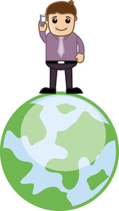 Telecommunications - Talking On Mobile Over Teh Globe - Vector Illustration