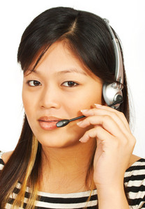 Telemarketing Woman Talking On Headset