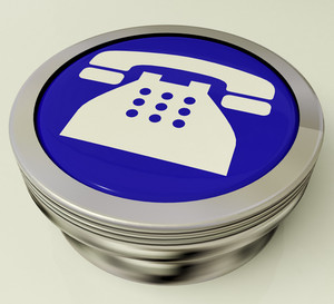Telephone Icon Or Metallic Button As Symbol For Calling Or Phone Call