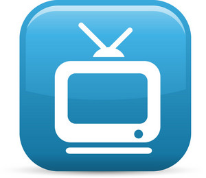 Television With Antennae Elements Glossy Icon
