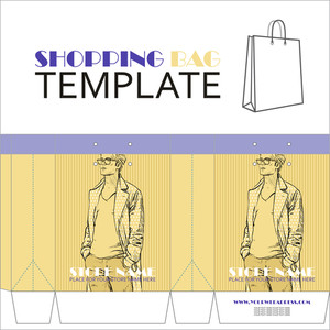 Template For Paper Shopping Bag With Guy Character.