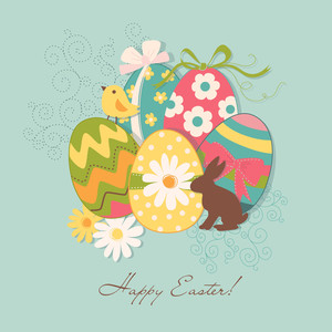 Template Of Beautiful Easter Greeting Card