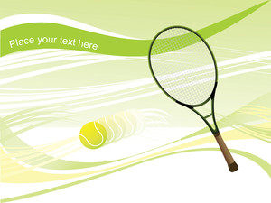 Tennis Racket With Ball In Motion, Illustration