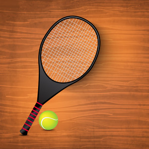 Tennis Racquet And Ball On Wooden Background.