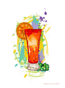 Tequila Sunrise Cocktail Vector Illustration