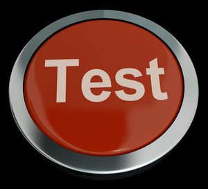 Test Button In Red Showing Quiz Or Online Questionnaire