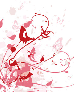 Teture Floral Wirh Birds Illustration