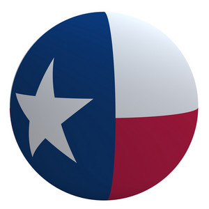 Texas Flag On The Ball Isolated On White.