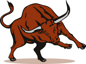 Texas Longhorn Bull Attacking Retro