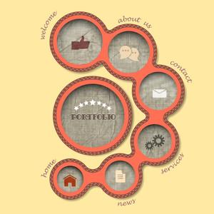 Textile Web Design Bubbles In Retro Style