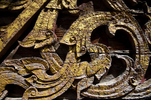 Texture art craft thai style on the temple wall